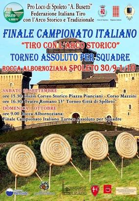 """Finale Campionato """"Italiano Tiro con l'Arco Storico"""" 30.09 – 01.10 Rocca Albornoz Spoleto"""